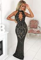 Pink Boutique Majesty Black Limited Edition Sequin Plunge Choker Maxi Dress