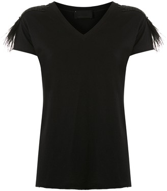 Andrea Bogosian feathers applique Rooney T-shirt