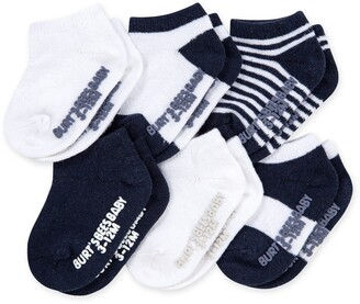 Burt's Bees Solid & Stripes Baby Ankle Socks 6 Pack Made with Organic Cotton - Grey