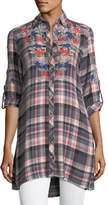 Tolani Cameron Plaid Embroidered Blouse, Plus Size