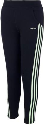 adidas Girls 7-16 Slim Side Stripe Fleece Pants