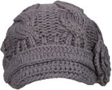 Simplicity Women's Knitted Beanie Cap Winter Crochet Hat, 4-Dark Grey