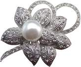 Zakia Classic Crystal Flower with Faux Pearl Brooch Pin Brooches Rhodium Plated