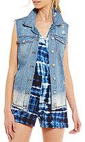 Jessica Simpson Peri Superloved Dip-Dyed Destructed Denim Vest
