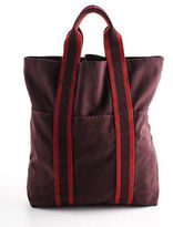Hermes Dark Red Canvas Fourre Tout Cabas Double Handle Tote Handbag BY4467 MHL