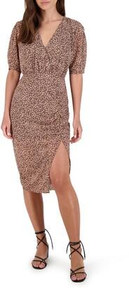 BB Dakota Dusky Business Floral Ruched Dress