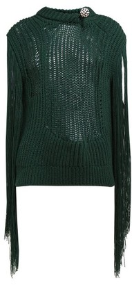 Calvin Klein Crystal Brooch Embellished Fringe Sweater - Womens - Green