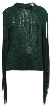Calvin Klein Crystal Brooch Embellished Fringe Sweater - Womens - Green