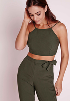 Missguided Crepe Crop Top Khaki