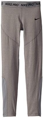 Nike Kids Pro Tights (Little Kids/Big Kids) (Carbon Heather/Cool Grey/Cool Grey/Black) Girl's Casual Pants