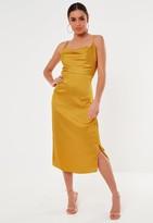 Missguided Mustard Satin Cowl Cami Slip Midi Dress