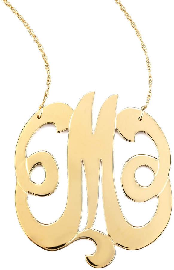 Jennifer Zeuner Jewelry Swirly Initial Necklace, M