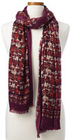 Classic Women's Printed Tweed Scarf-Port Wine Paisley