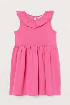 H&M Ruffle-trimmed Jersey Dress - Pink