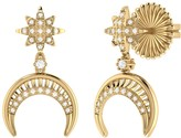Lmj North Star Moon Crescent Earrings In 14 Kt Yellow Gold Vermeil On Sterling Silver