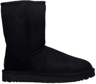 UGG Classi Short Ii Low Heels Ankle Boots In Black Suede