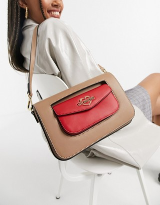 Love Moschino double pocket cross-body bag in camel and red