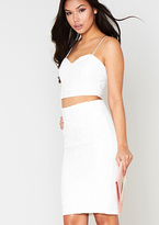 Missy Empire Indria White Lace Detail Bralet & Midi Skirt Co-Ord