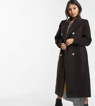 Glamorous Petite double breasted coat with tie waist-Brown