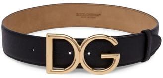 Dolce & Gabbana Logo Textured Leather Belt