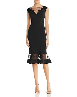 Aidan Mattox Scuba-Crepe Illusion Dress