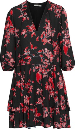 Alice + Olivia Moore Tiered Floral-print Crepe De Chine Mini Dress