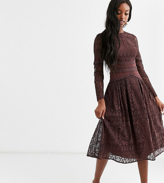 Asos Tall DESIGN Tall long sleeve dress in lace with geo lace trims-Blue