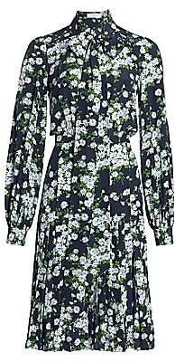 Michael Kors Women's Floral Pleated Silk Shirtress