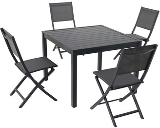 """Hanover Naples 5-Piece Outdoor Dining Set with 4 Sling Folding Chairs and a 38"""" Square Dining Table"""