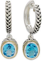 Effy Balissima by Blue Topaz Oval Leverback Earrings (4 ct. t.w.) in 18k Gold and Sterling Silver