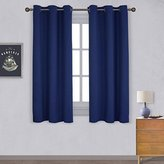 Nicetown All Season Thermal Insulated Solid Grommet Top Blackout Curtains / Drapes / Panels for Kid's Room (1 Pair,42 x 63 Inch In Navy Blue)
