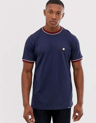 Pretty Green contrast piped t-shirt in navy