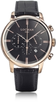 Locman 1960 Rose Gold PVD Stainlees Steel Men's Chronograph Watch w/Black Strap