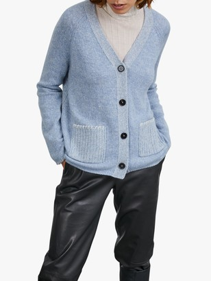 Jigsaw Mouline Patch Pocket Cardigan, Cashmere Blue