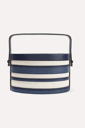 Hunting Season Trunk Striped Leather And Raffia Tote - Navy