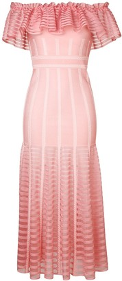 Alexander McQueen Off-Shoulder Long Dress