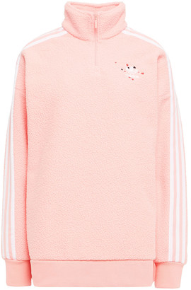 adidas Embroidered Striped Fleece Sweatshirt
