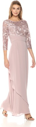 Alex Evenings Women's a-Line Gown Embroidered Bodice with Pleated Lace Dress