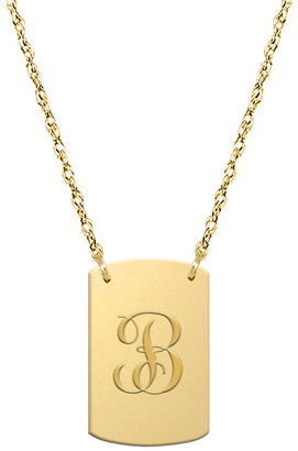 Jane Basch 14K Script Initial Dog Tag Necklace (A-Z)