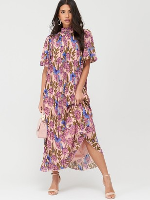 U Collection Forever Unique High Neck Pleated Midaxi Dress - Nude