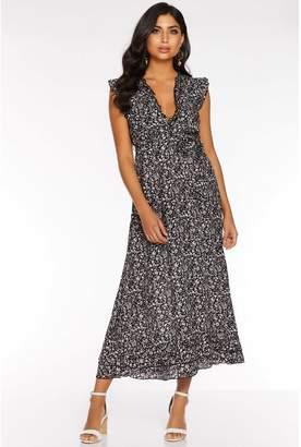 Quiz Black Ditsy Print Frill V Neck Maxi Dress