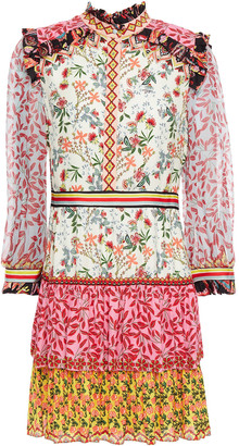 Alice + Olivia Kathy Tiered Printed Crepe De Chine And Georgette Mini Dress