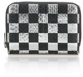 Alexander Wang Dime Compact Wallet With In Checkerboard Elaphe