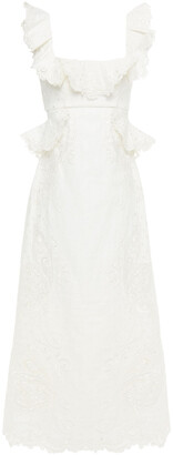 Zimmermann Ruffled Embroidered Tulle And Linen Midi Dress