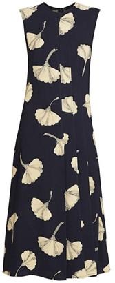 Victoria Beckham Paneled Floral Flare Dress