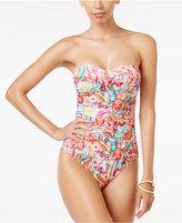 Lauren Ralph Lauren Sunrise Printed Tummy-Control Bandeau One-Piece Swimsuit