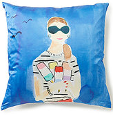 Kate Spade Beach Day Striped Silk & Cotton Square Feather Pillow