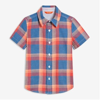 Joe Fresh Kid Boys' Short Sleeve Shirt, Light Navy (Size M)