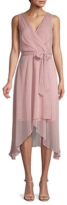 Karl Lagerfeld Paris Dot-Print Chiffon Wrap-Effect Dress