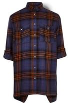 River Island Girls orange and blue check shirt